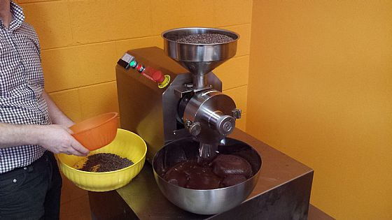 In Florence; PreGrinder to speed up production of bean to bar chocolate!